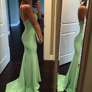 Mint Green Beaded Mermaid Gown